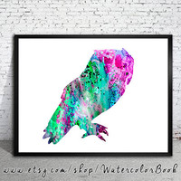 Owl 4 Watercolor Print, watercolor painting,watercolor art, Illustration, art, watercolor animal,bird art,bird watercolor,Owl art, Owl print