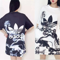 [FREE SHIPPING] Adidas long and long T-shirt clover women's long paragraph T-shirt dress