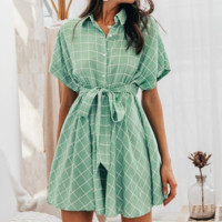 Spring and summer dress small fresh plaid fashion skirt casual