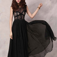 Sleeveless Chiffon Sheath A-Line Pleated Maxi Dress with Lace Accent