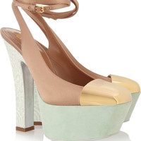 Yves Saint Laurent Obsession satin and suede pumps – 60% at THE OUTNET.COM