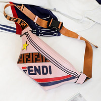 Fendi Fashion New Star Letter Leather Women Men Chest Bag Shoulder Bag Pink
