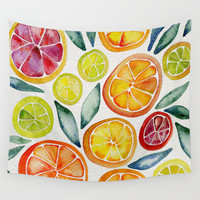 Sliced Citrus Watercolor Wall Tapestry by Cat Coquillette