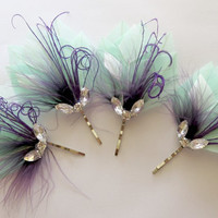 4 Wedding Hair Pieces - Bridesmaid Set Feather Hair Pins Feather Fascinator Mint Purple 1920s, Gatsby