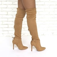 Walk Tall Thigh High Heel Boots In Camel