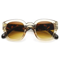 Retro Modern Bold Frame Block Horned Rim Sunglasses 9138