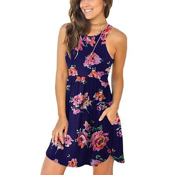 Women's Summer Sleeveless Casual Dresses Swing Cover Up Elastic Sundress With Pockets
