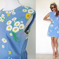 Vintage 60's 70's blue floral flower mod summer print sleeveless mini day dress