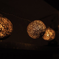 Handmade silver gray cotton ball String Lights Fairy lights Party Decor Wedding Garden Spa and Holiday Lighting