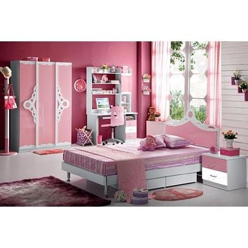 Kids Room Furniture Set Contemporary Design - Pink Theme Full Bed