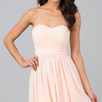 Strapless Sweetheart Lace Embellished Dress