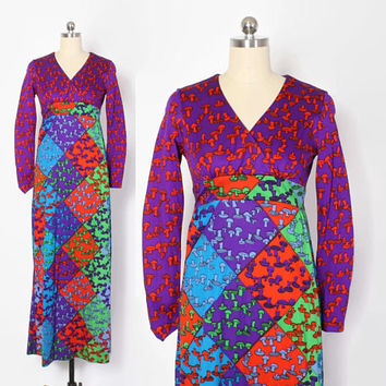 Vintage 70s MUSHROOM DRESS / 1970s Bright Psychedelic Novelty Print Maxi Dress S