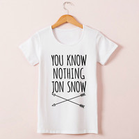 You Know Nothing Jon Snow Top Tees Games Of Thrones T-shirt