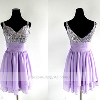 Handmade Sequins Sweetheart Lilac Chiffon Short Prom Dress/ Cocktail Dress/ Party Dress/ Homecoming Dress /Sweet 16 Dress By Wishdress