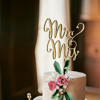 """Mr and Mrs"" Antic Rustic Wedding Cake Topper Laser Cut Wood letters Wedding Cake Decorations Favors Supplies Engagement Gifts"