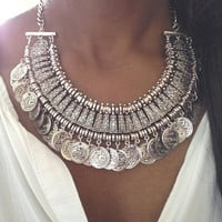 Silver Coin Gypsy Boho Necklace