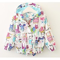 Baby Girls Coats Spring Baby Jackets Hooded Graffiti Printing Baby Outerwear&Coats Kids Children Clothing