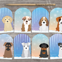 Cute Puppy Gift Tags, Winter Pet Hang Tags, Puppies Icicles Snowflakes, Puppy Party Favors Digital Holiday Favors Animal Christmas Gift Tags