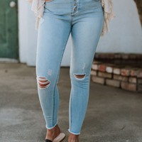 Hadley High Rise Ripped Skinny Jeans - Light Denim