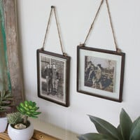 Set of 2 Glass Photo Frames with Metal Trim & Jute Hanger