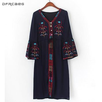Oversized Boho Ethnic Style Dress Vintage Long Flare Sleeve Vestido Embroidered Cotton and Linen Womens Dresses New Arrival 2018