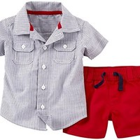 Carter's 2 Piece 4th of July Shorts Set (Baby) - Red-3 Months