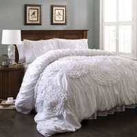 Seneca 3 PC Ruched Floral Burst Comforter Bedding SET