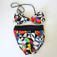 20% OFF SALE Vintage 80s bikini. geometric printed bathing suit. high waisted 2 piece. womens swimsuit.