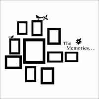 The Memories Quotes Wall Decor with 10 Photo Frames Wall Sticker DIY Removable Vinyl Family Lettering Sayings Wall Decor