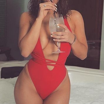 Halter Neon Bikini Deep V-Neck Bathing Suit Women Sexy Swimsuit One Piece Bodysuits Bikini