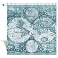 Antique Teal Chic Map Shower Curtain -  Vintage map -Home Decor - Bathroom - maps