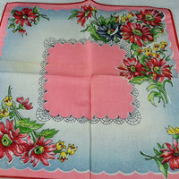 Vintage Hankie Handkerchief - Vintage but New With Tags, Pink Blue, Red  for  Framing, Sewing, Crafts, Collage    H71