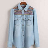 *Free Shipping* Women Jean Long Sleeve Light Blue Top One Size YS1025lbl from efoxcity
