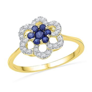 10kt Yellow Gold Women's Round Lab-Created Blue Sapphire & Diamond Flower Cluster Ring 1/8 Cttw - FREE Shipping (US/CAN)