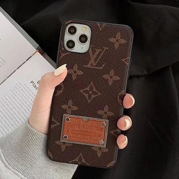 LV Louis Vuitton Phone Cover Case For iphone 7 7plus 8 8plus X XR XS MAX 11 Pro Max 12 Mini 12 Pro Max Coffee