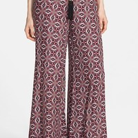 Junior Women's miamax FROM LONDON WITH LOVE Print Palazzo Pants