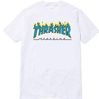 Thrasher Magazine Yellow Flame Logo White & Blue T-Shirt