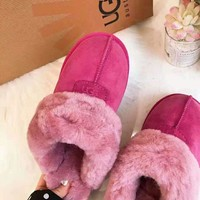 """UGG"" Winter Classic Fashion Women Wool Slippers Shoes Rose Red"