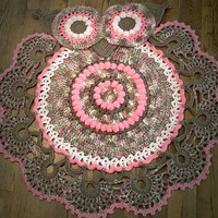 Beautiful handmade crocheted owl rug, animal rug, girls room decor, pink and brown rug