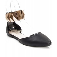 New Bamboo Object55 Pointy Toe Gold Decor Ankle Strap d'Orsay Ballet Shoes BLACK