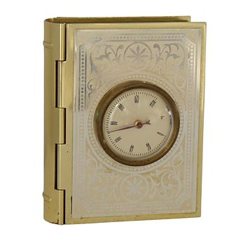 Vintage Gold Book Trinket Box with Thermometer Made in France Desktop Accessory