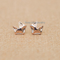 Simple Fox Earrings - Gold and Rose Gold; cute and simple fox stud earrings; minimalist animal studs;