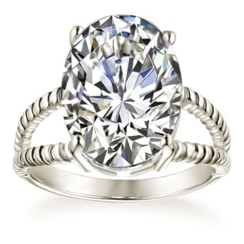 Double Twisted Rope 5.8CT Oval Zirconia Ring