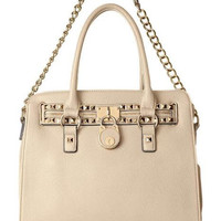 Studded Structured Satchel Trending Shoulder Tote Fashion Hand Bag Purse - Beige