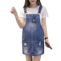 Maternity Jeans Overalls Denim Strapped Dress Pregnancy Clothes Dress