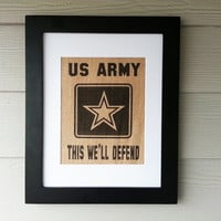 US Army Burlap Print  - Framed