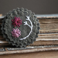 Flower Pin - Olive Green Felt with Cranberry and Ivory Stitching