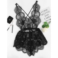 Open & Airy Lace Romper - Black