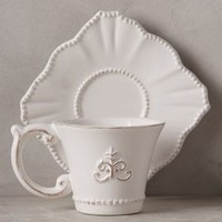 Fleur De Lys Cup & Saucer by Anthropologie