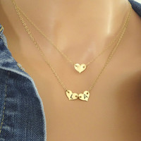 Delicate Heart Necklace - 14k Gold Fill Initial Necklace - Bridesmaid Monogram Necklace - Layering Necklace - Christmas Necklace HGF108